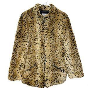 White Stag Coat Faux Fur Animal Leopard Print 1X